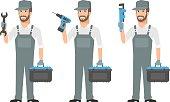 Repairman holding tools wrench screwdriver