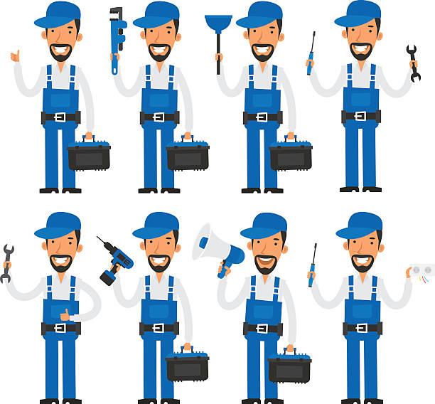 修理工様々なポーズを - 機械工点のイラスト素材/クリップアート素材/マンガ素材/アイコン素材