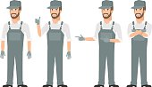 Repairman pointing in various poses