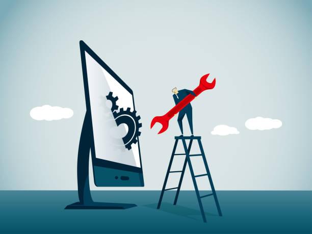 ilustraciones, imágenes clip art, dibujos animados e iconos de stock de reparador - reparador