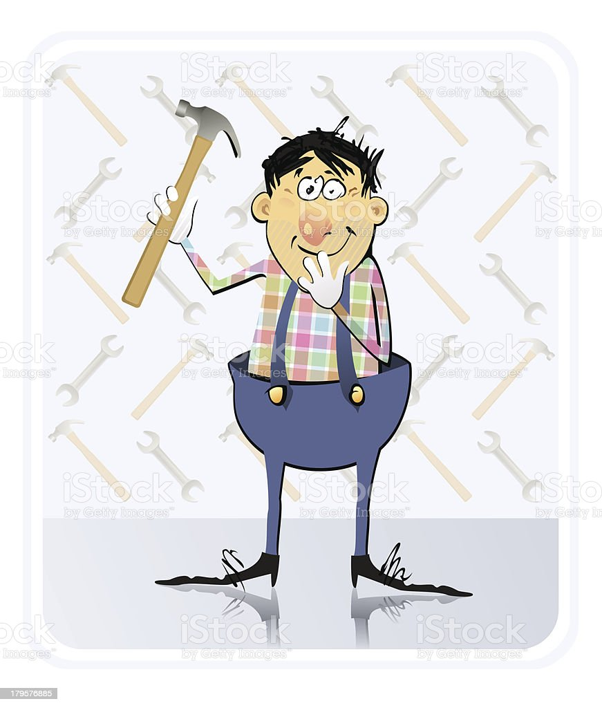 Repairman With Hammer royalty-free stock vector art