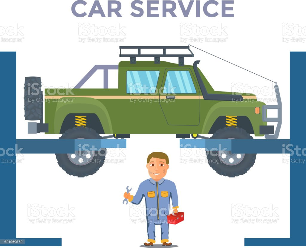 Repairman with Pickup truck Lifted on jack. Vector vector art illustration