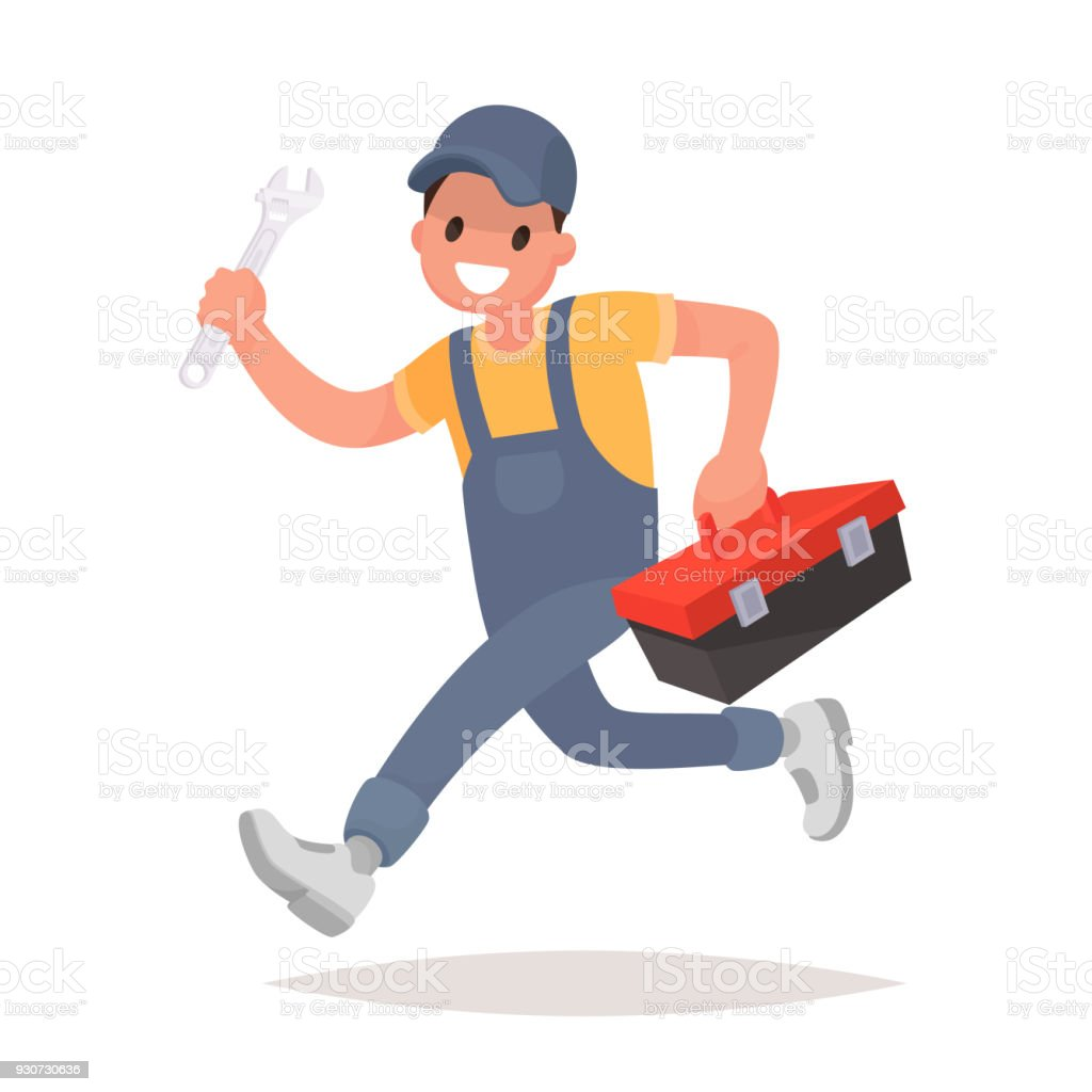 Repairman with the tools is running. Technical service. Vector illustration vector art illustration