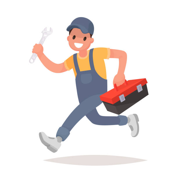 repairman with the tools is running. technical service. vector illustration - mechanic stock illustrations, clip art, cartoons, & icons