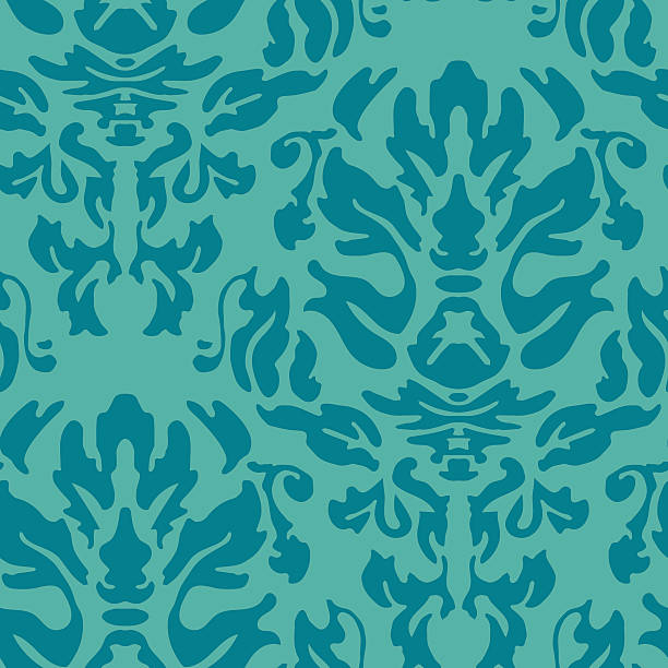 Repeat damask pattern in teal blue vector art illustration