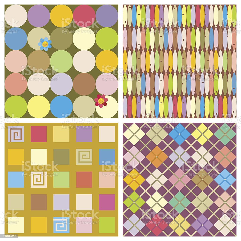 Repeat patterns (seamless backgrounds) royalty-free stock vector art
