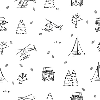 Repeat seamless pattern of helicopter, yacht, travel bus, trees, christmas trees, leaves on white background for coloring book