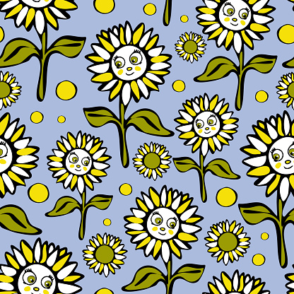 Repeat vector pattern with sunflowers on blue background. Fun cartoon floral wallpaper design for children. Hand drawn flower fashion textile.