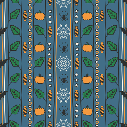 Repeat vector pattern with vertical Halloween stripes on blue background. Autumn pumpkin leaf wallpaper design. Decorative spooky fashion textile.