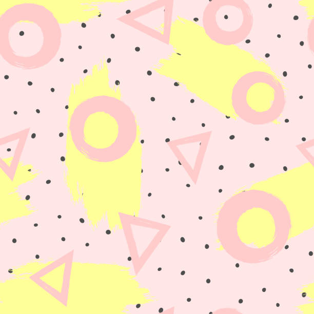 ilustrações de stock, clip art, desenhos animados e ícones de repeated brush strokes and geometric shapes drawn by hand. stylish geometric seamless pattern for girls. grunge, sketch, watercolour. - girl