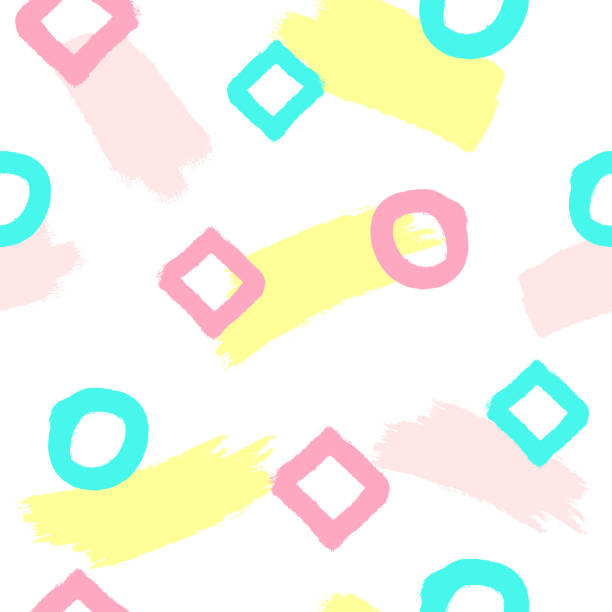 stockillustraties, clipart, cartoons en iconen met herhaalde penseelstreken, cirkels, rhombuses met de hand getekend. schattig naadloze patroon voor kinderen. grunge, schets, aquarel. wit, roze, geel, blauw, paars. - baby dirty