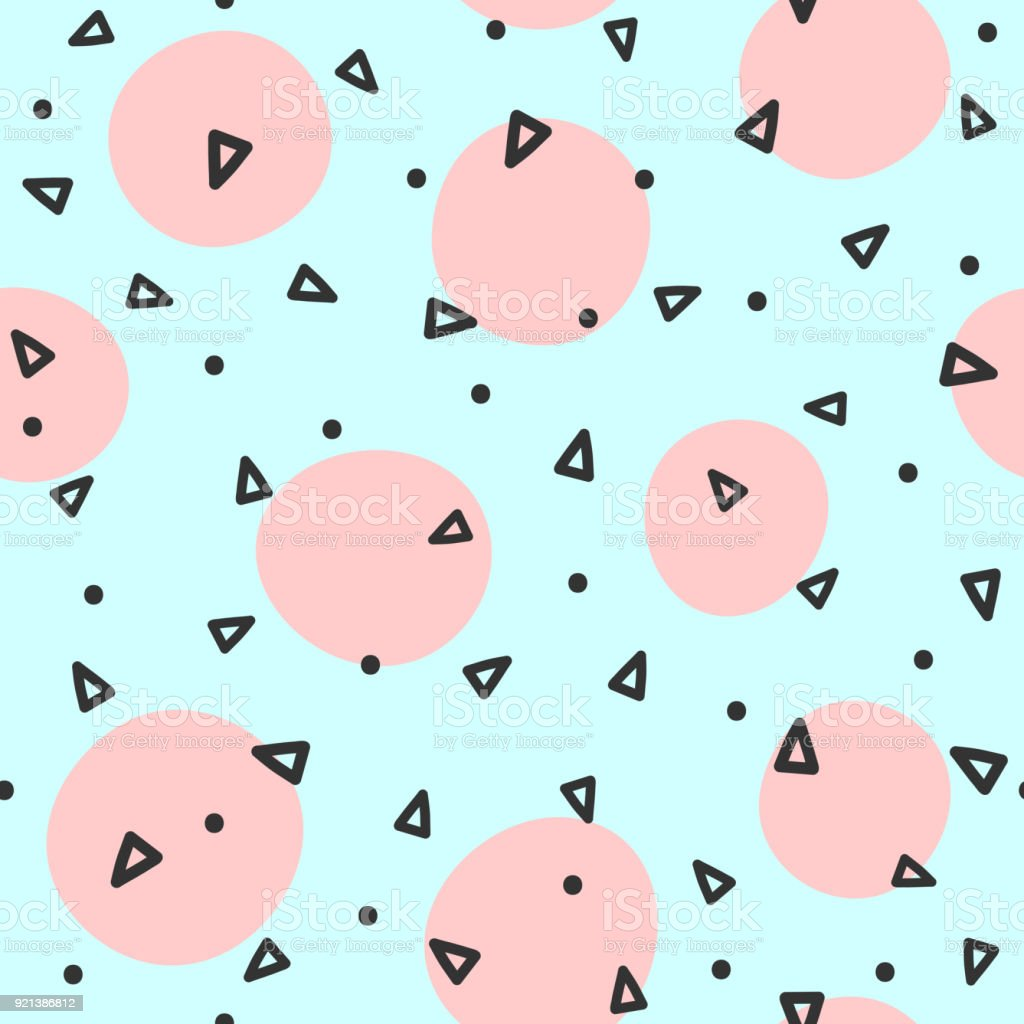 Repeated circles and triangles drawn by hand. Geometric seamless pattern. Sketch, doodle, scribble. - arte vettoriale royalty-free di Alla moda