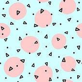 Repeated circles and triangles drawn by hand. Geometric seamless pattern. Sketch, doodle, scribble.