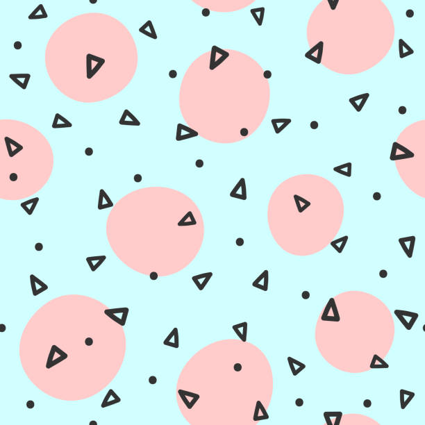 repeated circles and triangles drawn by hand. geometric seamless pattern. sketch, doodle, scribble. - cute stock illustrations