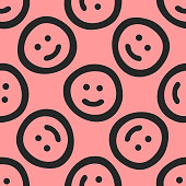Repeated cute smileys drawn by hand. Funny seamless pattern. Sketch, doodle. Endless girlish print. Girly vector illustration.