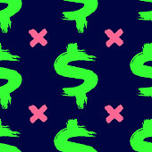 Repeated dollar signs and crosses drawn by hand with watercolour brush. Bright seamless pattern. Sketch, watercolor, graffiti.