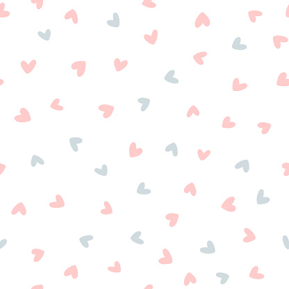 Repeated hearts drawn by hand. Cute seamless pattern. Endless romantic print.