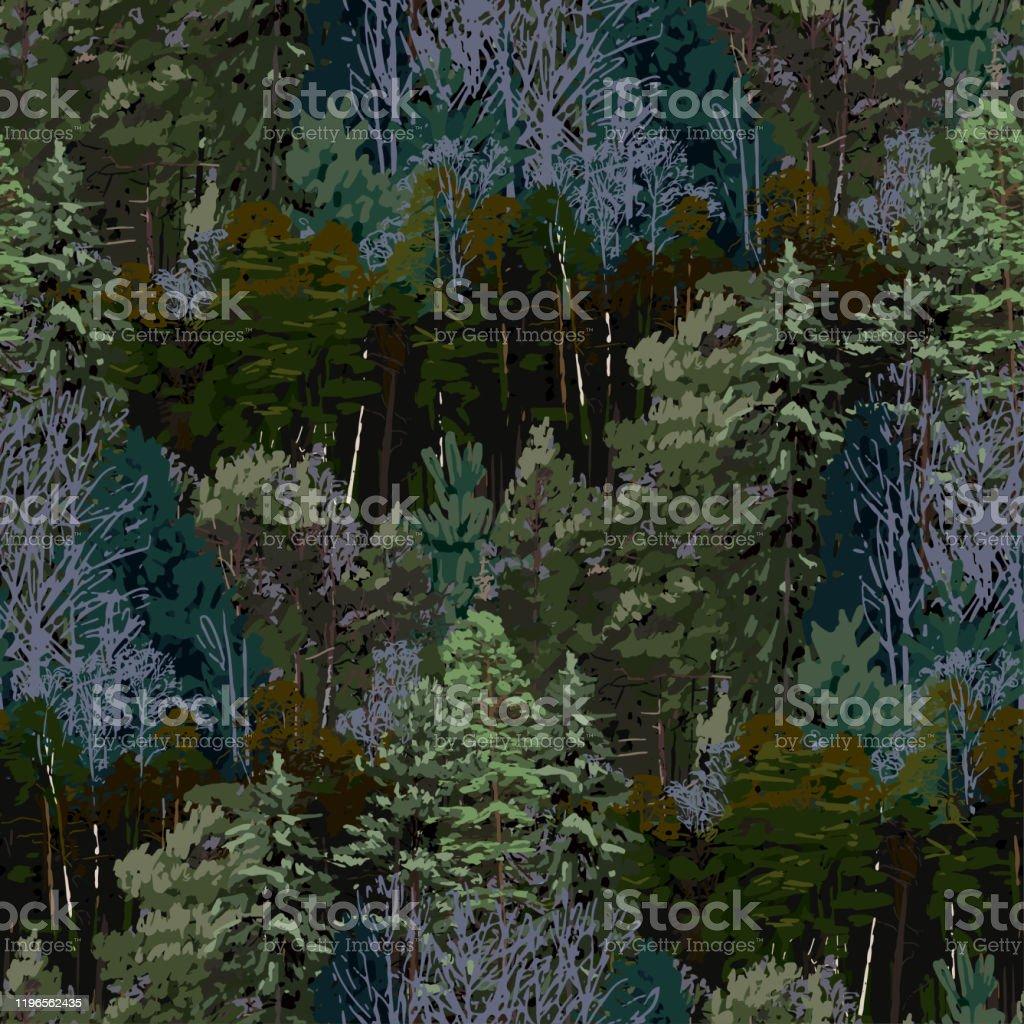 Upprepade sömlösa mönster av lövfällande och barrträd. - Royaltyfri Barrväxter vektorgrafik
