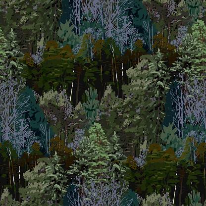 Upprepade Sömlösa Mönster Av Lövfällande Och Barrträd-vektorgrafik och fler bilder på Barrväxter