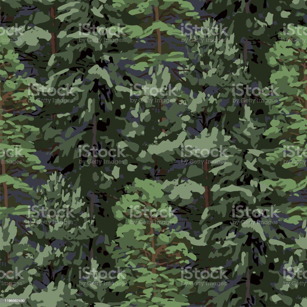 Upprepade sömlösa mönster av olika barrträd. - Royaltyfri Barrväxter vektorgrafik