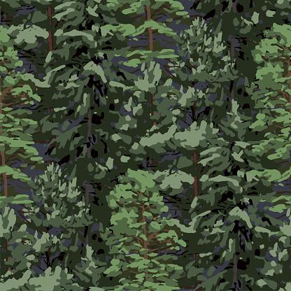 Upprepade Sömlösa Mönster Av Olika Barrträd-vektorgrafik och fler bilder på Barrväxter