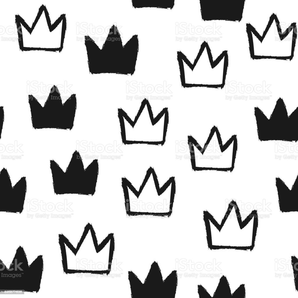 Repeated Silhouettes And Outlines Of Crowns Seamless Pattern Grunge Graffiti Ink