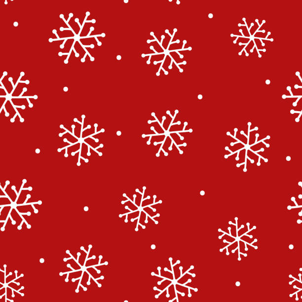 Repeated Snowflakes Drawn By Hand And Round Dot New Year Seamless Pattern Sketch