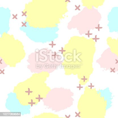 Repeated watercolour stains and crosses. Abstract seamless pattern. Grunge, sketch, watercolor, graffiti. White, pink, blue, yellow, purple.