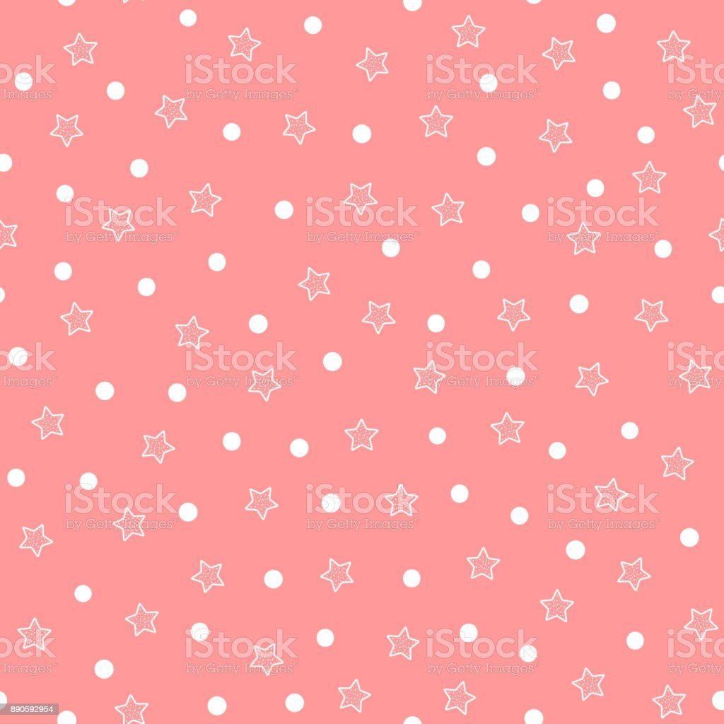 Repeated white stars and circles on pink background. Cute seamless pattern. vector art illustration