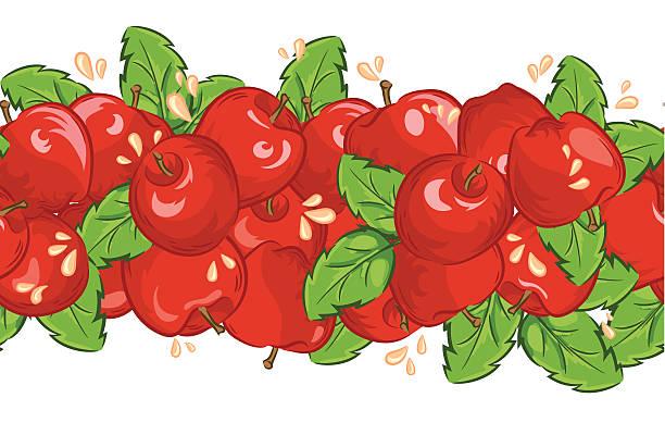 Wiederhole Äpfel und Saft Banner – Vektorgrafik