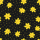 Repeating flowers and irregular polka dot. Floral seamless pattern for women. Drawn by hand. Trendy vector illustration.