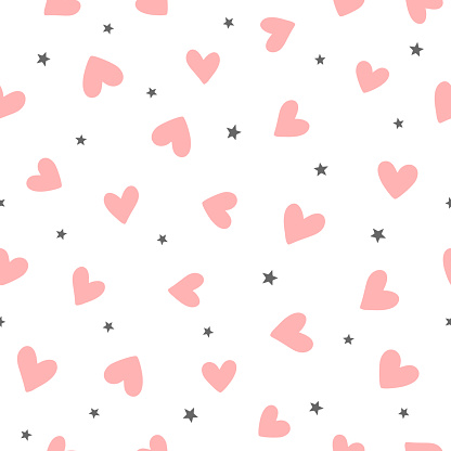 Repeating hearts and stars drawn by hand. Cute romantic seamless pattern. Endless girly print.