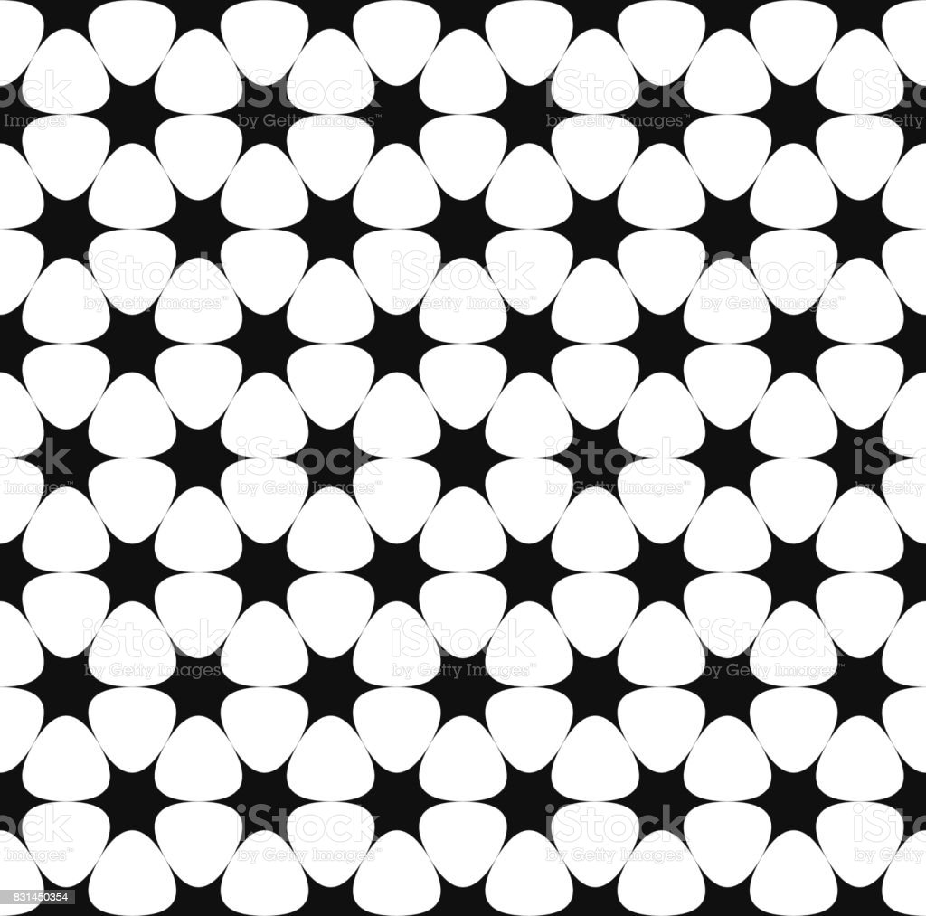 Repeating monochrome star pattern vector art illustration