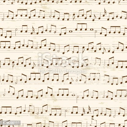 Faded old random musical notes background. Repeating tileable vector illustration.