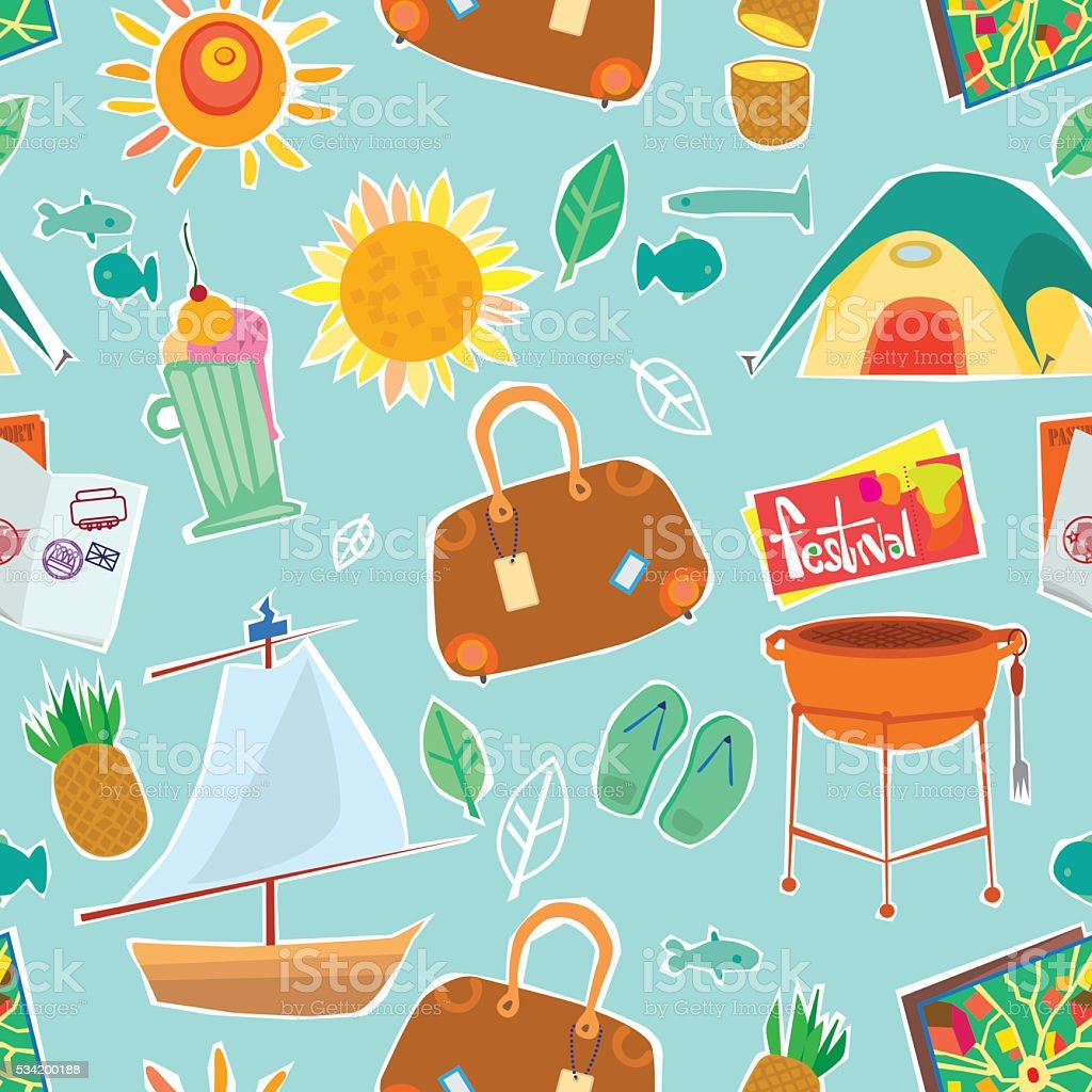 Repeating Pattern Of Travel And Vacation Illustrations vector art illustration