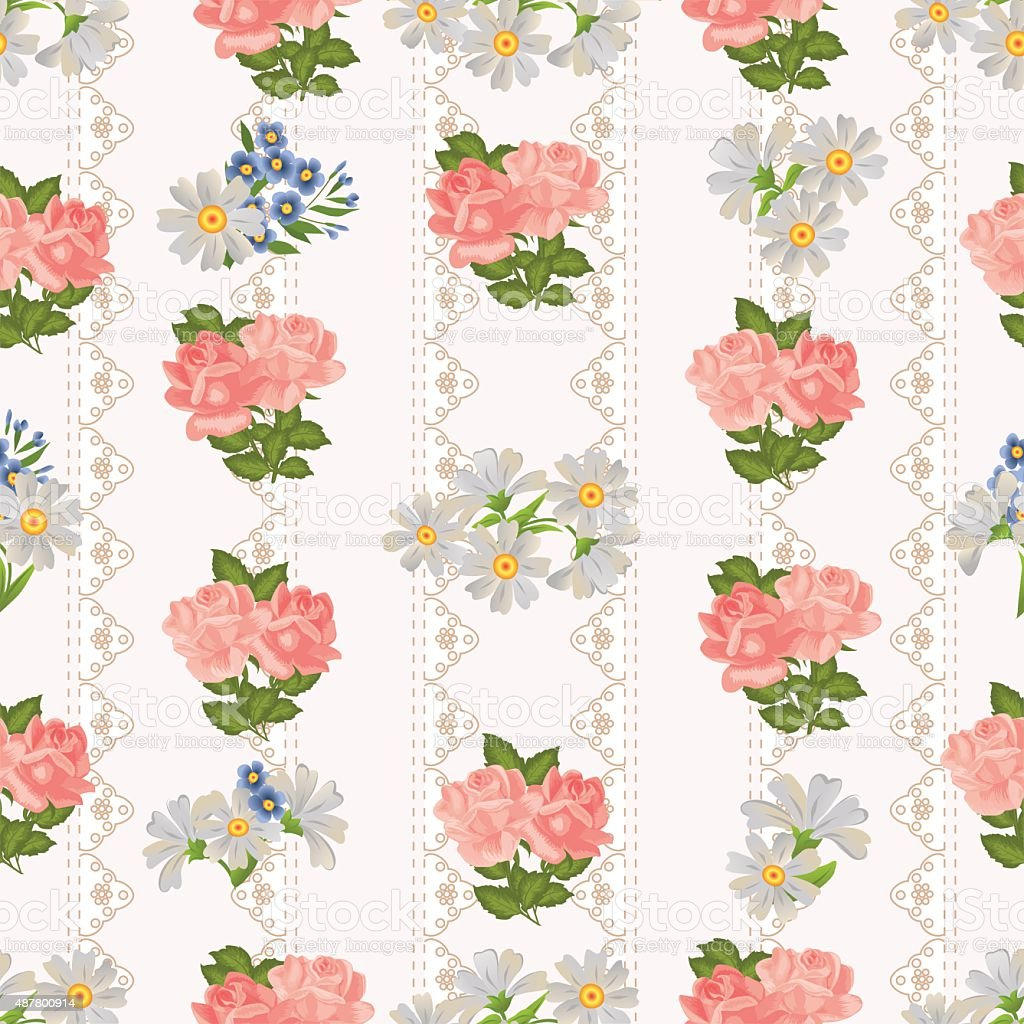 Repeating Pattern With Flowers On A Background Of Rustic Lace Royalty Free