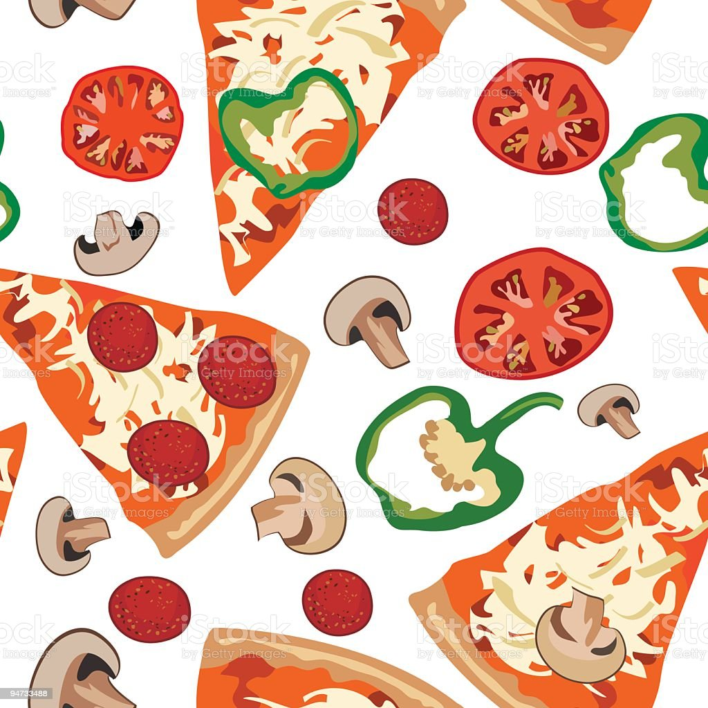 Repeating Seamless Pizza Pattern Illustration with Slices and Toppings royalty-free stock vector art