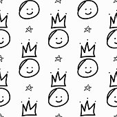 Repeating stars and smileys with crowns drawn by hand. Funny seamless pattern. Sketch, doodle, scribble. Endless fun print. Vector illustration.