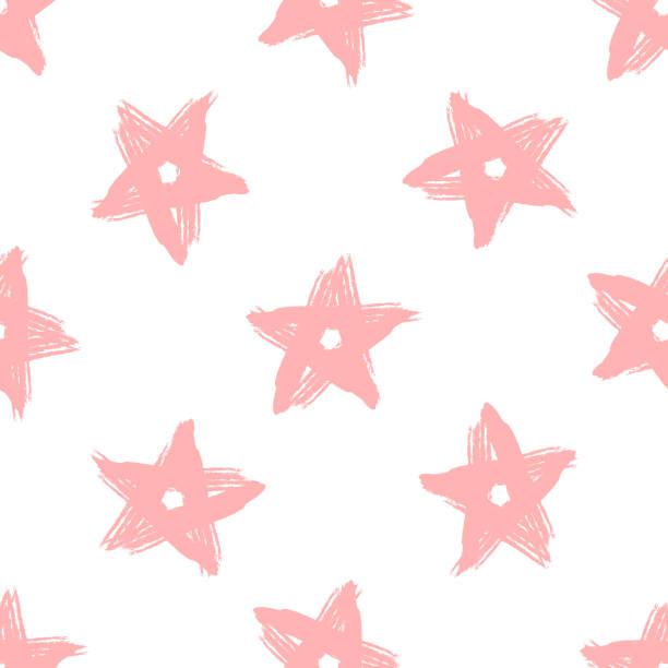 stockillustraties, clipart, cartoons en iconen met herhalende sterren met de hand getekend met ruwe borstel. meisjesachtig naadloze patroon. grunge, schets, verf, graffiti, aquarel. - baby dirty