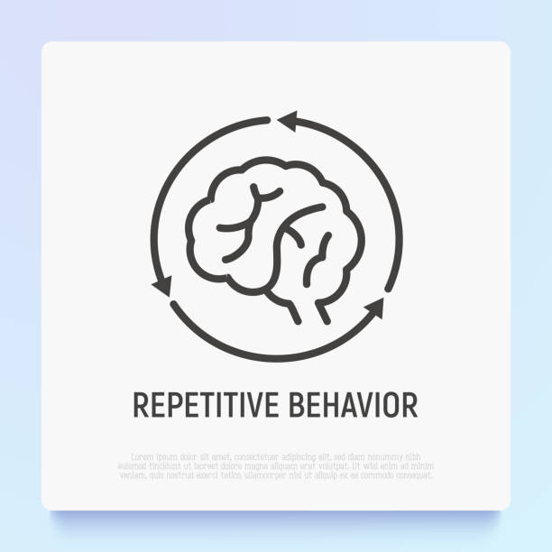 Repetitive behavior: human brain in arrows thin line icon. Modern vector illustration of autism symptom. Repetitive behavior: human brain in arrows thin line icon. Modern vector illustration of autism symptom. attitude stock illustrations