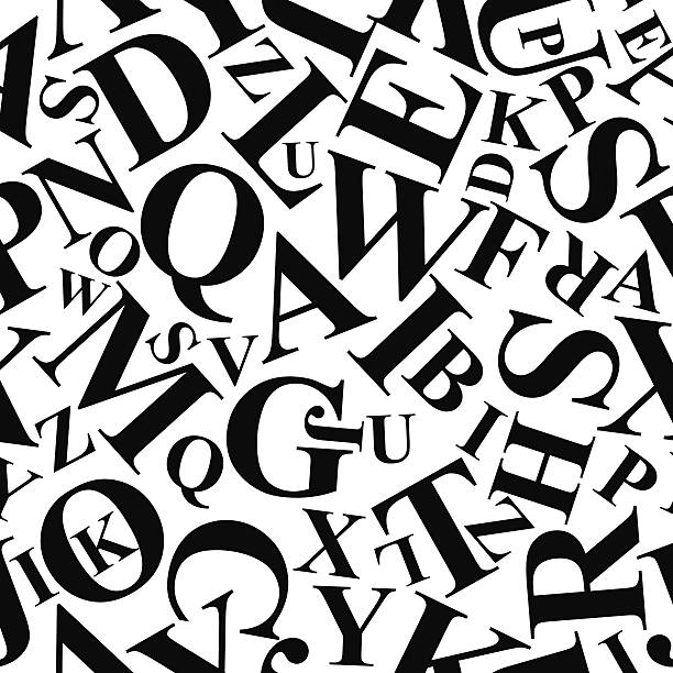 repetitive pattern made of alphabet letters vector - alphabet backgrounds stock illustrations