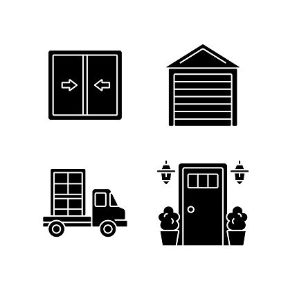 Replacement window opportunity black glyph icons set on white space