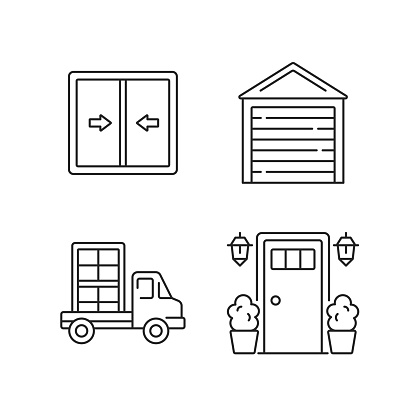 Replacement window opportunity linear icons set