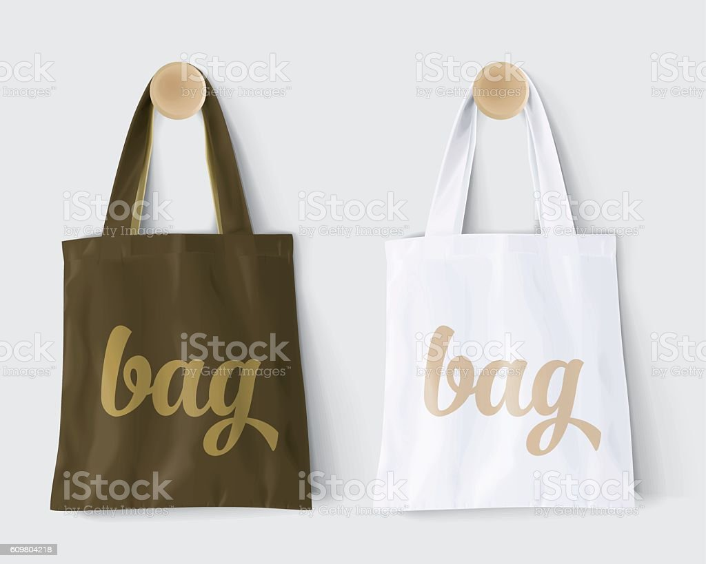 "Replaces ""bag"" by design and Change colors Mockup Cotton Paper Bag Replaces ""bag"" by design and Change colors Mockup Cotton Paper Bag Signboard Shop Bag stock vector"
