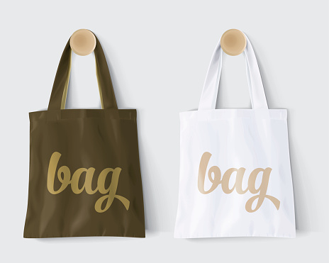 Replaces Bag By Design And Change Colors Mockup Cotton Paper Bag Stock Illustration - Download Image Now