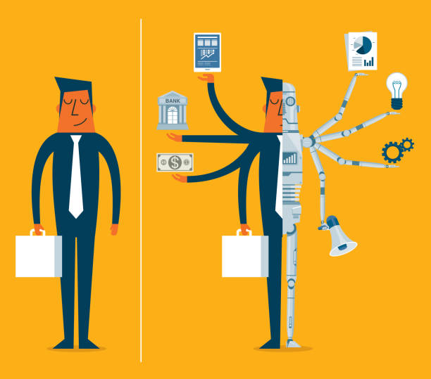 Replacing people with robots - Businessman vector art illustration