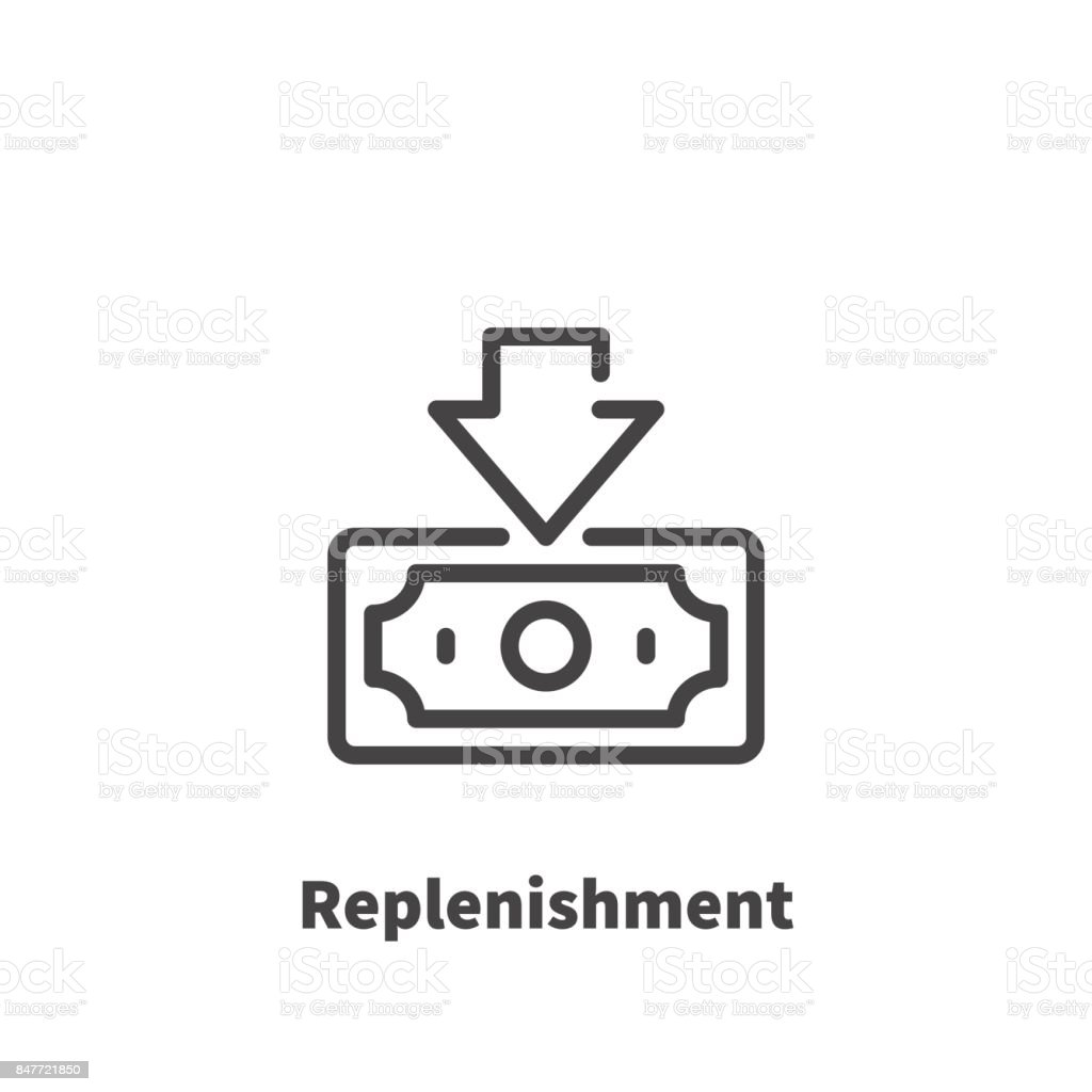 Replenishment of bank account, Money icon, vector symbol in line style isolated on white background. Editable stroke 48x48 pixel perfect.