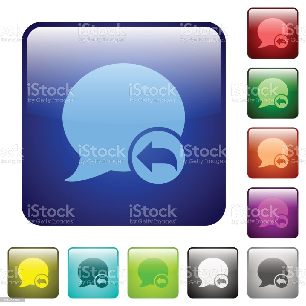 Reply blog comment color square buttons royalty-free reply blog comment color square buttons stock vector art & more images of applying