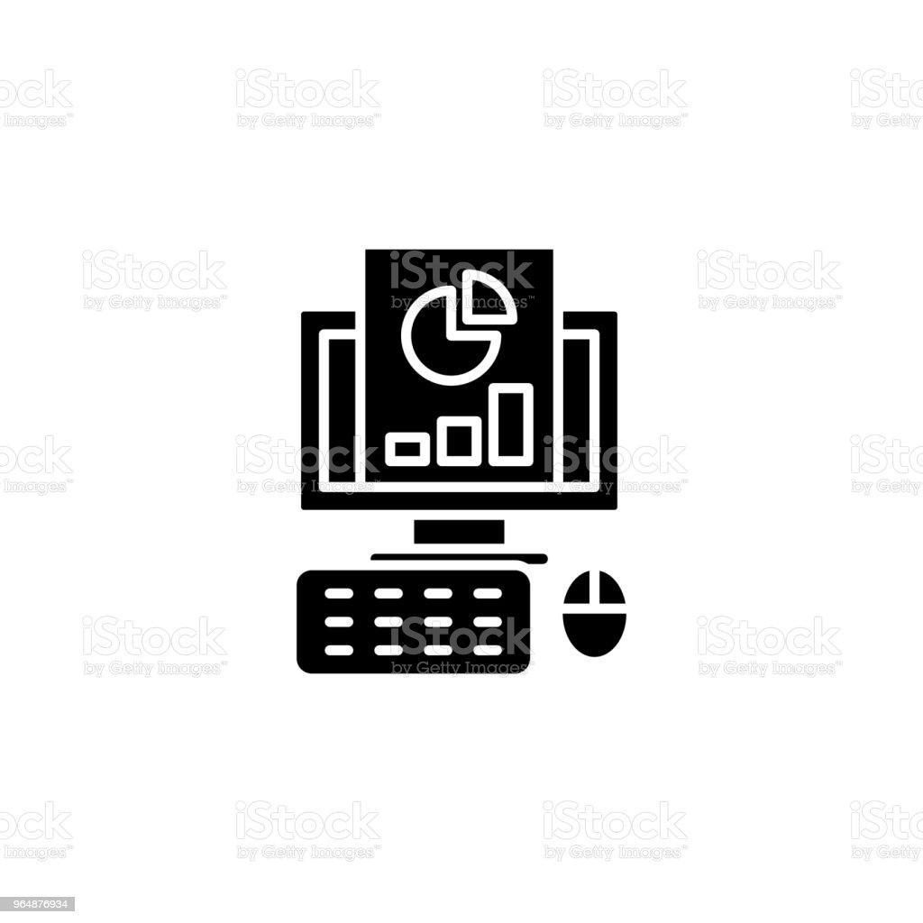 報告黑色圖示概念。報告平面向量符號, 符號, 插圖。 - 免版稅一組物體圖庫向量圖形
