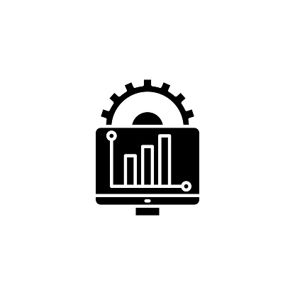 Report Generation Black Icon Concept Report Generation Flat Vector Symbol Sign Illustration Stock Illustration - Download Image Now